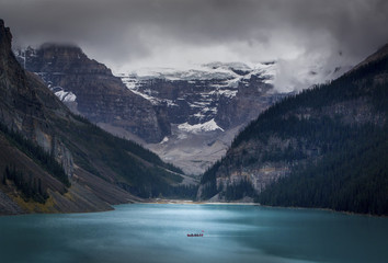 Scenery of Lake Louise with mountains, Banff National Park, Alberta, Canada