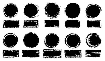 Grunge post stamps collection, circles. Freehand drawing. Banners, insignias, logos, icons, labels and badges set. Distress textures. Blank shapes. Vector illustration. Isolated on white background