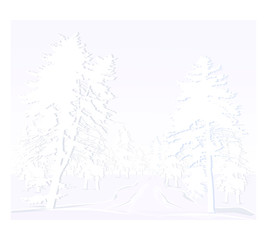snowy pine forest. winter vector background