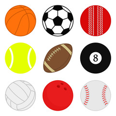 Sports balls vector set. Cartoon ball icons. Collection of colorful balls. Flat style.
