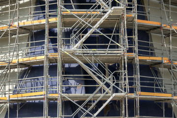scaffolding, working at building construction, structure of scaffolding stairs to work