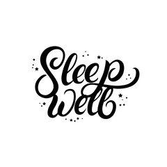 Sleep well hand written lettering with stars.