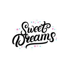 Sweet dreams hand written lettering with stars.