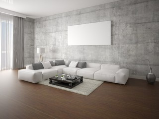 Mock up a modern living room with a large corner sofa and hipster background.