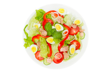 Tuna salad with lettuce, eggs and tomatoes isolated on white. Top view.