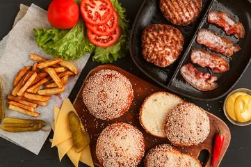ingredients for burger