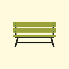 Wooden bench isolated on colorful background. Park vector bench in flat style