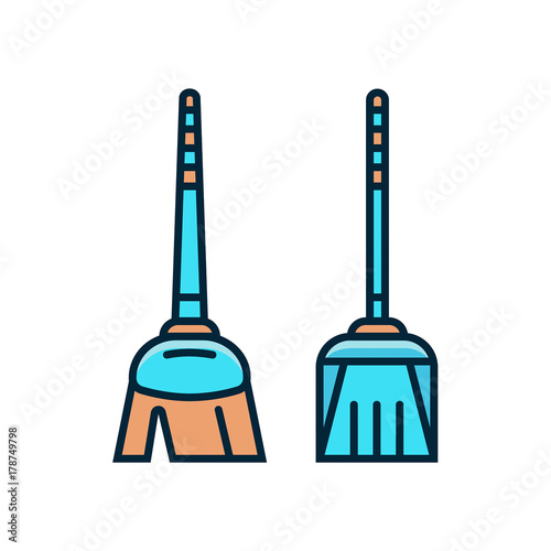 Mop and dust pan flat color line icons  Broom and scoop vector i