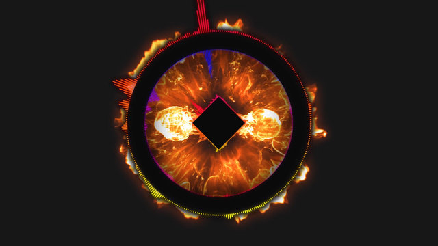 Abstract motion background, shining lights, sound waves geometric shape energy and sparkling element particles in disco dance music concept with seamless loop black background and fire effects