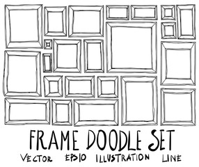 Set of Frame illustration Hand drawn doodle Sketch line vector eps10