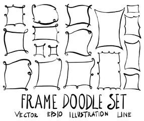 Set of Frame illustration Hand drawn doodle Sketch line vector eps10