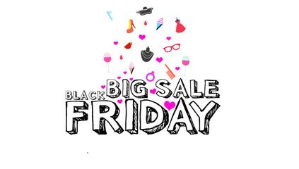 Big sale Black Friday inscription design white background template. Black Friday banner. illustration