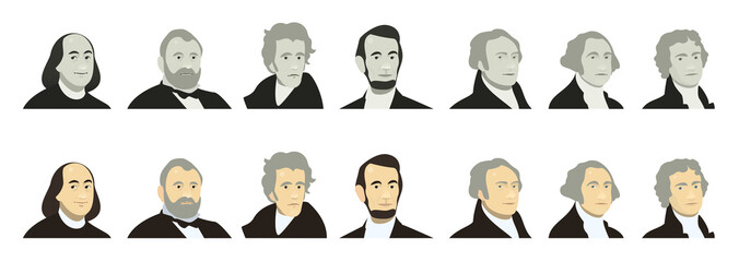 Portraits of US Presidents and famous politicians. Stylized like on US Dollar banknotes money of USA. George Washington, Thomas Jefferson, Abraham Lincoln, Alexander Hamilton, Andrew Jackson, Ulysses Fotomurales