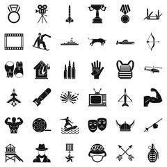 Award icons set, simple style