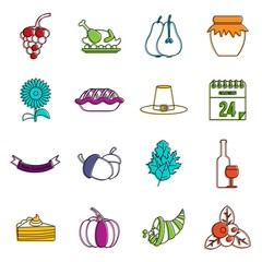 Thanksgiving icons doodle set