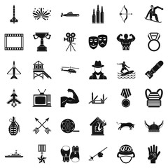 Sword icons set, simple style