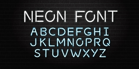 Vector realistic isolated neon font letters for decoration and covering on the wall background.