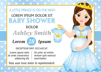Vector Card Template with Pregnant Woman for Baby Shower. Vector Baby Boy