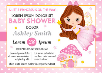 Vector Card Template for Baby Shower. Vector Baby Girl