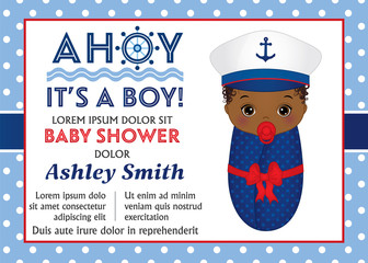 Vector Card Template for Baby Shower. Vector Baby Boy