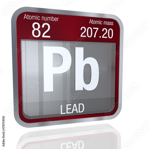 Lead Symbol In Square Shape With Metallic Border And Transparent