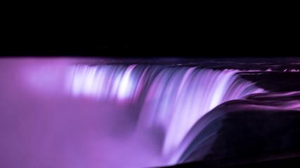 Niagara Falls at Night, Pink Colours on Long Exposure