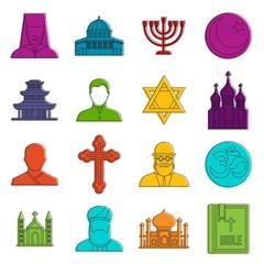 Religious symbol icons doodle set