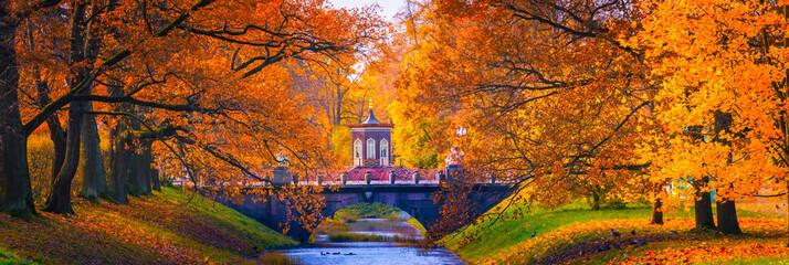 Russia. Panorama of the autumn landscape. The city of Pushkin. Neighborhoods of Petersburg.
