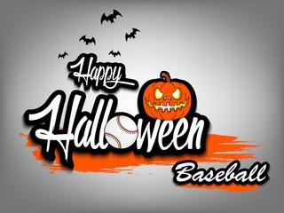 Banner happy halloween and baseball ball