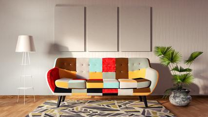 Living room, interior design 3D Render Wall mural