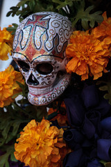 Flower and skeleton alter at Dia de los Muertos