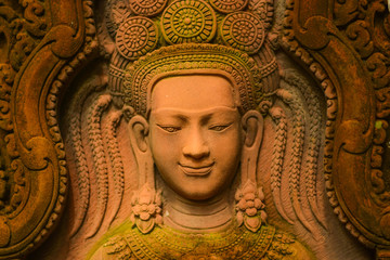 The fairy stucco of Buddhists Brahman and Hindu Outdoor exhibits stain and moss green.