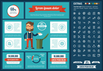 Ecology infographic template and elements. The template includes illustrations of hipster men and huge awesome set of thin line icons. Modern minimalistic flat vector design.