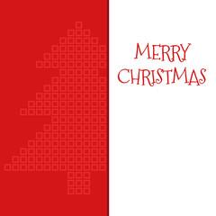 Merry Christmas postcard with square mosaic xmas tree