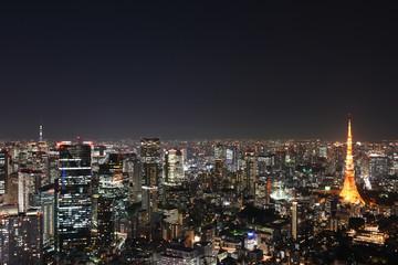 日本の東京都市景観「港区や中央区、墨田区方面などを望む」(画面左奥には東京スカイツリー、画面右には、東京タワー」
