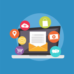 Vector illustration of Email. Email communication. Modern flat design for Web Banner , Website Element , or Web Template
