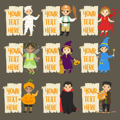 Halloween characters and empty banners cartoon vector set