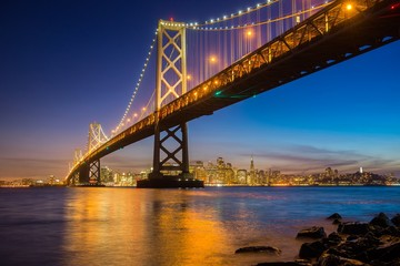 Blue hour at the bay bridge