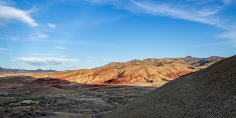 Sunset shadows on the Painted Hills in Summer one of the seven wonders of Oregon