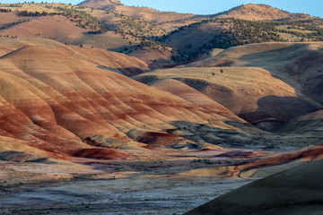 Sunset close up of the painted hills vibrant and full of color in summer
