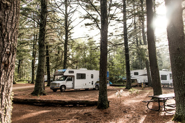 Lake of two rivers Campground Algonquin National Park Beautiful natural forest landscape Canada Parked RV camper car