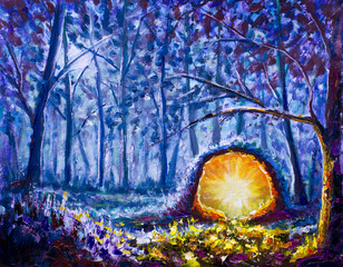 Original oil painting A bright yellow portal to another world in a mystical blue forest on canvas. Beautiful  night forest - Modern Illustration, fairy tale, fantasy impressionism painting.