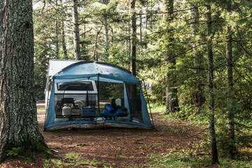 Lake of two rivers Campground Algonquin National Park Beautiful natural forest landscape Canada tent camper