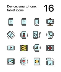 Colored Device, smartphone, tablet icons for web and mobile design pack 1