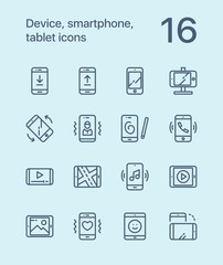 Outline Device, smartphone, tablet icons for web and mobile design pack 1