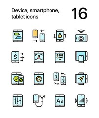 Colored Device, smartphone, tablet icons for web and mobile design pack 2