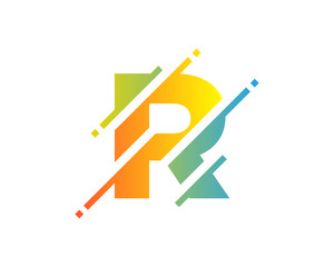 Digital Letter R Pixel Icon Logo Design Element