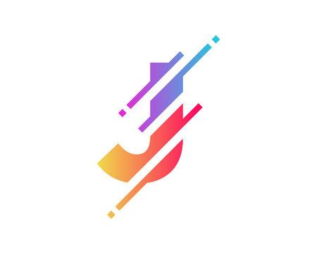 Digital Letter J Pixel Icon Logo Design Element