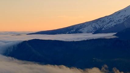 Sunset perfect glowing mountain fog Inversion Mt. Hood Oregon Cascades 5