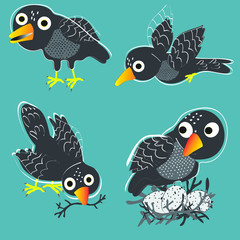 Funny black birds in different poses around the nest vector art